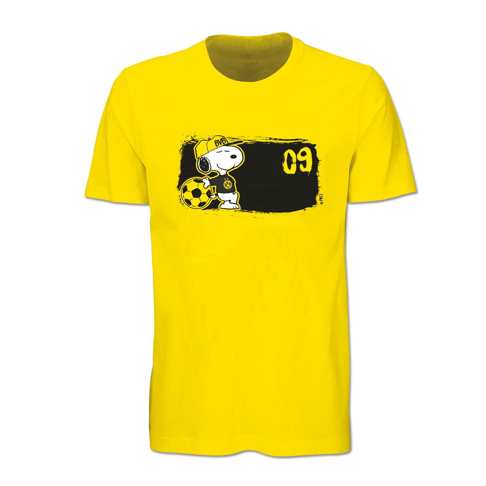 bvb snoopy t shirt gelb shirts herren offizieller bvb online fanshop. Black Bedroom Furniture Sets. Home Design Ideas