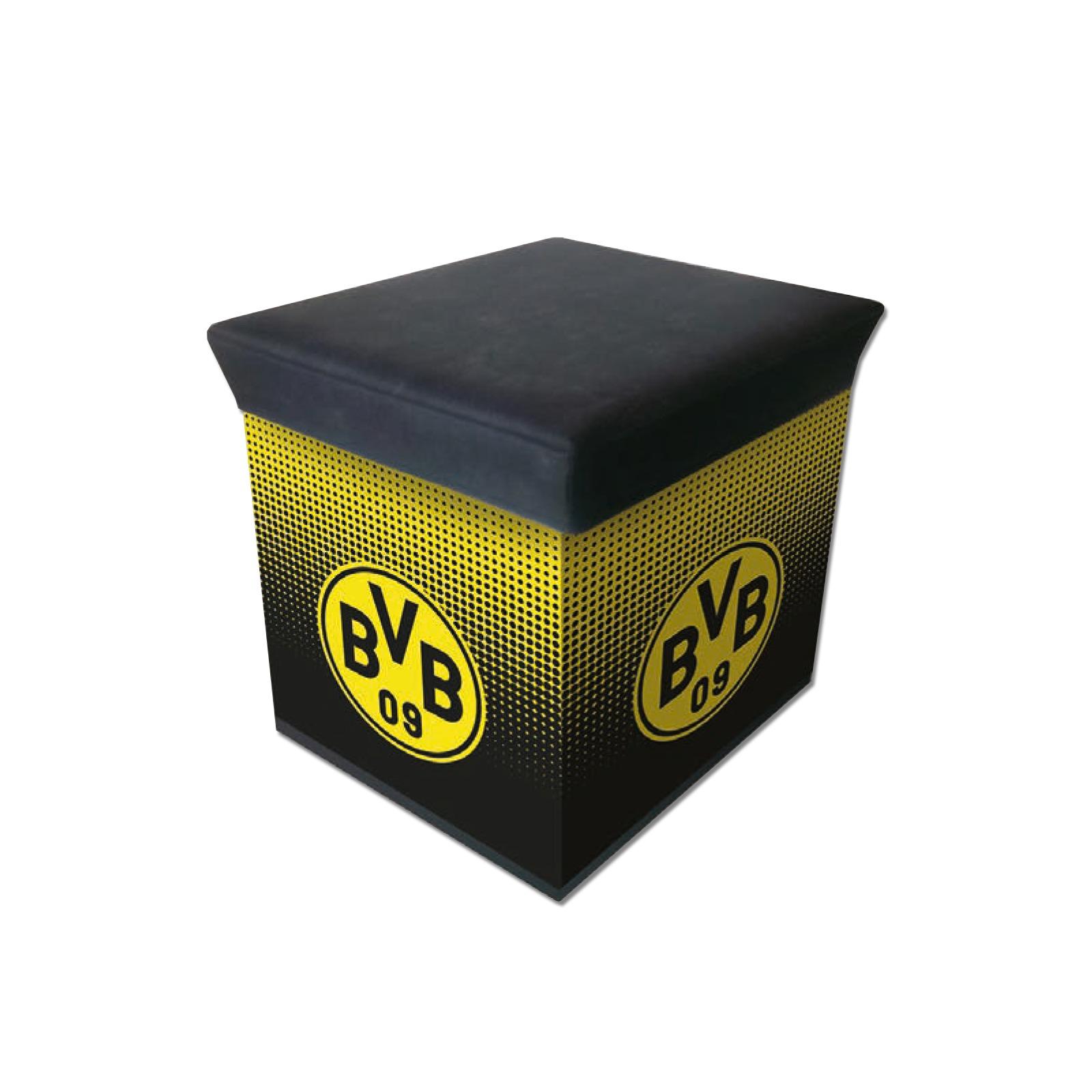 bvb sitzbox mit emblem n tzliches zu hause offizieller bvb online fanshop. Black Bedroom Furniture Sets. Home Design Ideas