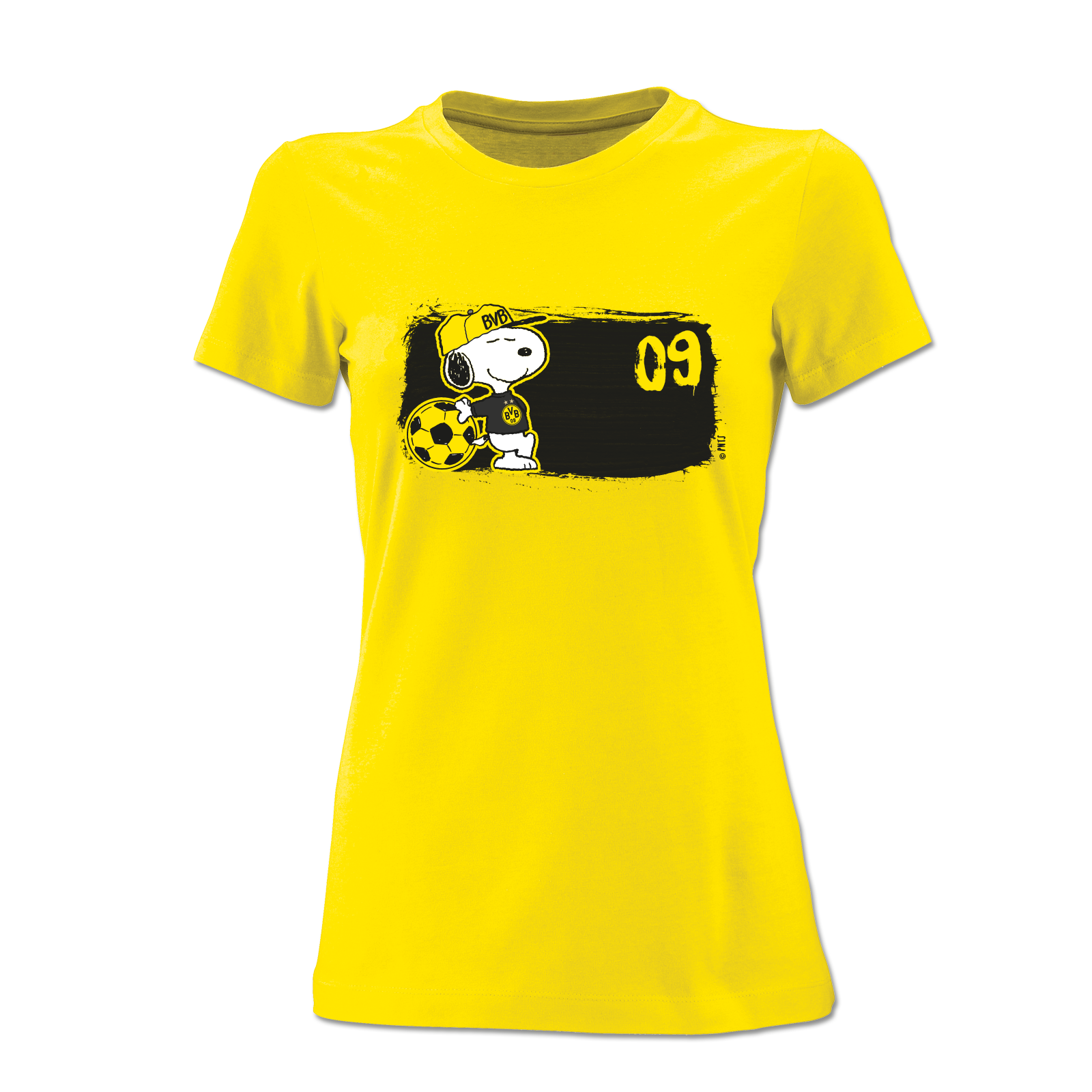 bvb snoopy t shirt f r frauen gelb trikots shirts. Black Bedroom Furniture Sets. Home Design Ideas