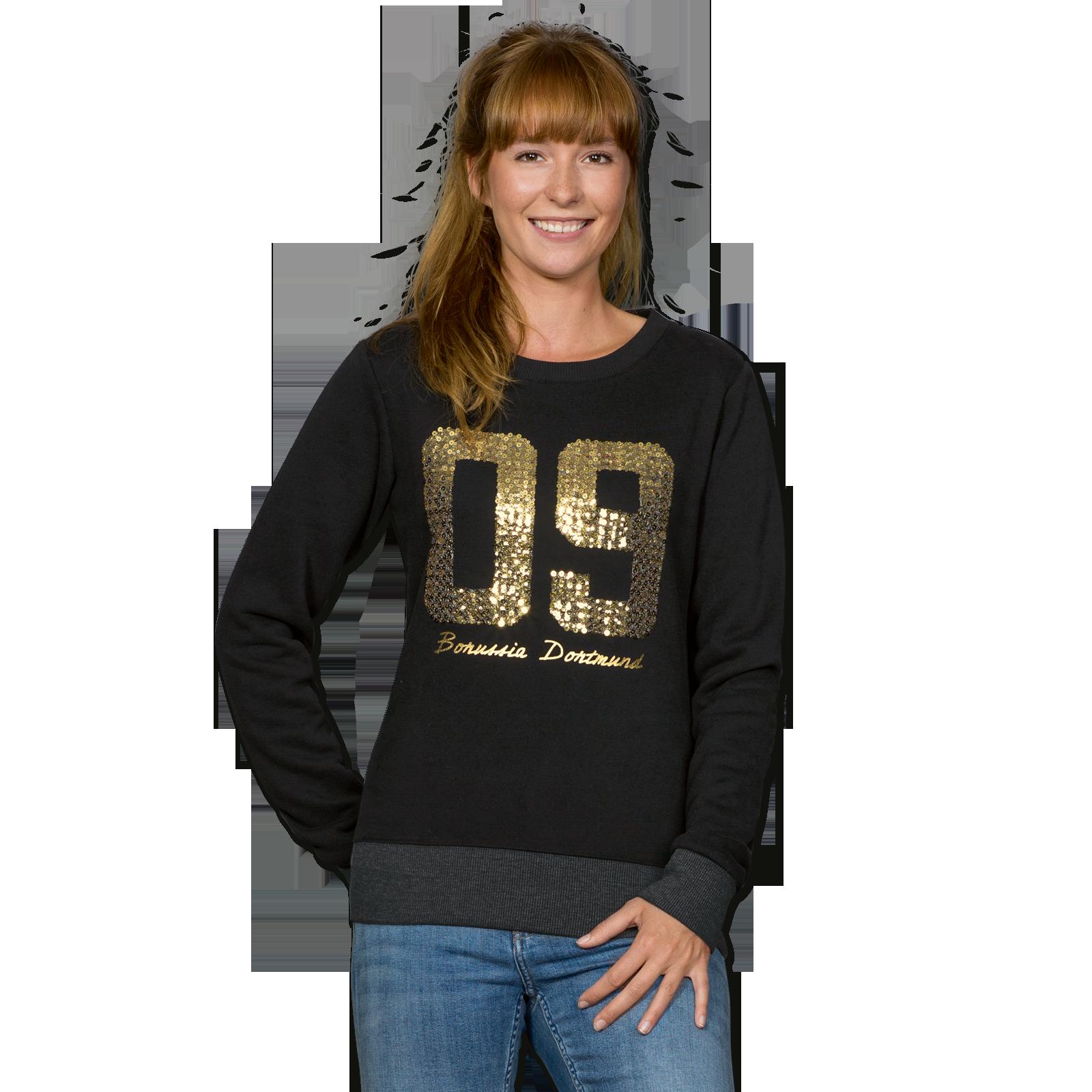 09 sweatshirt mit pailletten f r frauen pullover jacken damen offizieller bvb online fanshop. Black Bedroom Furniture Sets. Home Design Ideas