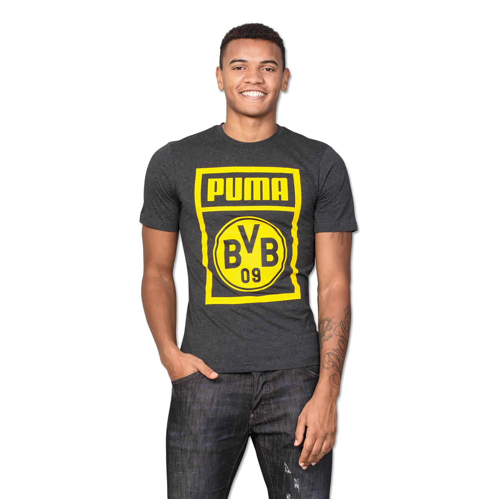 bvb puma t shirt grau shirts herren offizieller bvb online fanshop. Black Bedroom Furniture Sets. Home Design Ideas