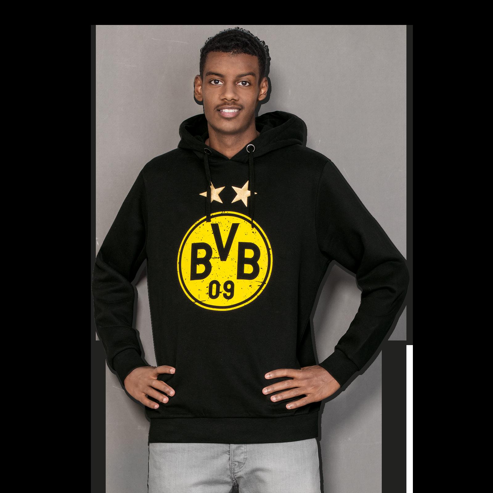 bvb kapuzen sweatshirt mit logo pullover herren offizieller bvb online fanshop. Black Bedroom Furniture Sets. Home Design Ideas
