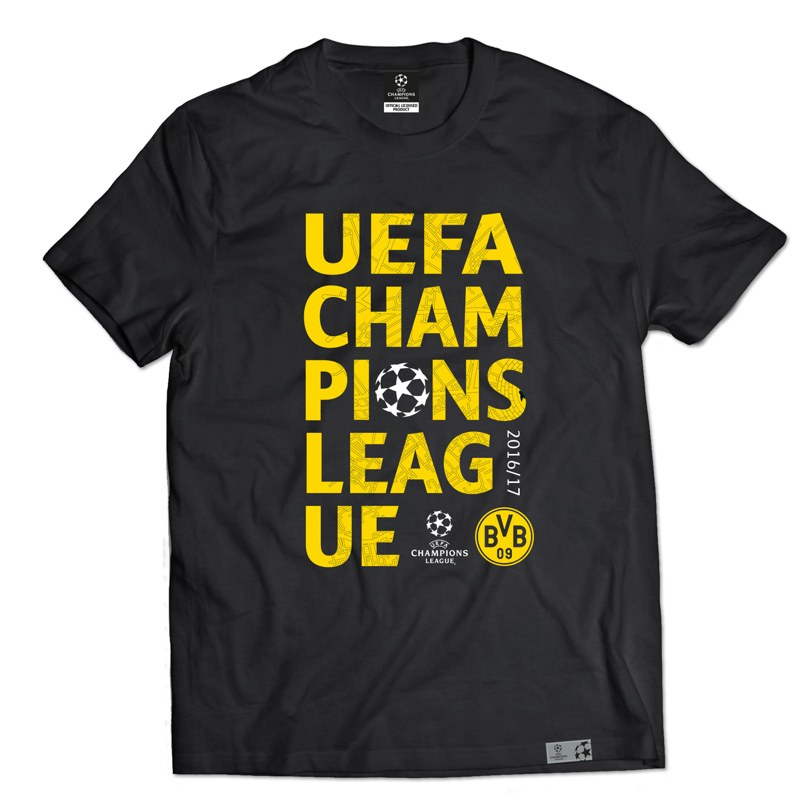 bvb t shirt zur uefa cl herren offizieller bvb online. Black Bedroom Furniture Sets. Home Design Ideas